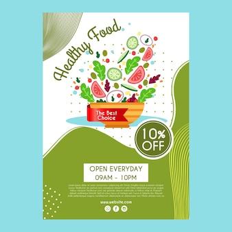 Plantilla de póster para restaurante de comida saludable
