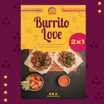 Plantilla de póster de restaurante de comida de taco