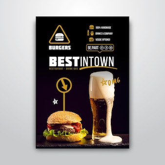 Plantilla de póster para restaurante de hamburguesas