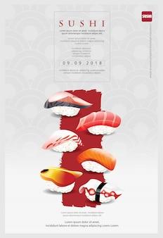 Plantilla de póster de restaurante de sushi