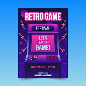 Plantilla de póster retro de juegos con ilustraciones