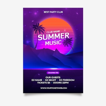 Plantilla de póster retro de música de verano