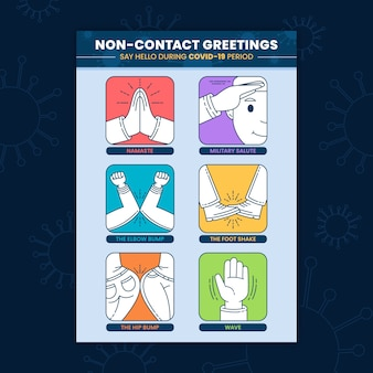 Plantilla de póster de saludos sin contacto