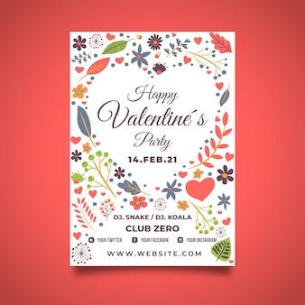 Plantilla de póster de san valentín con diseño floral