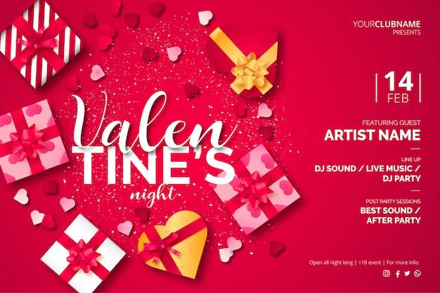Plantilla de póster de san valentín con hermosos regalos