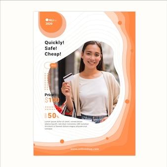 Plantilla de póster de servicio de compras en línea