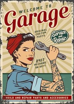 Plantilla de póster de servicio de garaje vintage con pin up chica mecánica