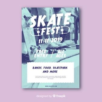 Plantilla de póster de skate fest sport