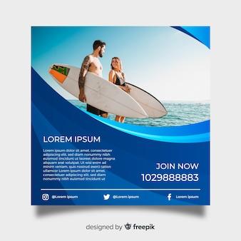 Plantilla de poster de surf con fotografía