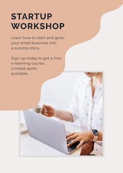 Plantilla de póster de taller de inicio vector gratuito