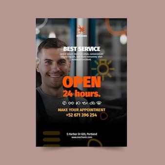 Plantilla de póster de taller mecánico