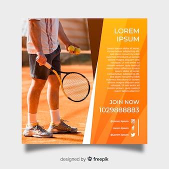 Plantilla de poster de tenis con fotografía