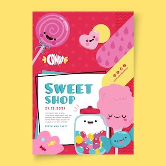 Plantilla de póster de tienda de dulces con ilustraciones