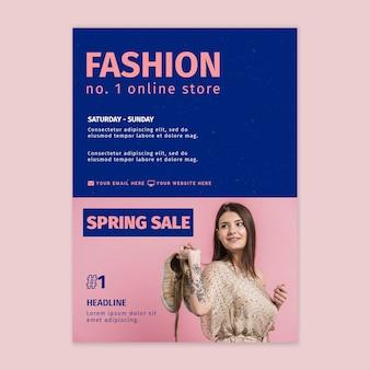 Plantilla de póster de tienda online de moda