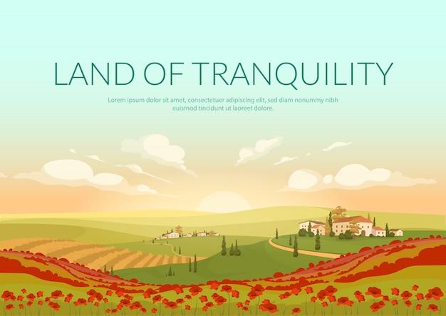 Plantilla de póster de tierra de tranquilidad