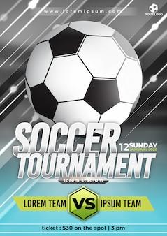Plantilla de póster de torneo de copa de fútbol con diseño de moda