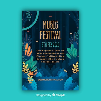Plantilla de póster tropical de festival de música