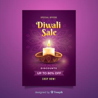 Plantilla de póster de venta del festival de diwali