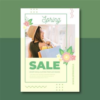 Plantilla de póster de venta de primavera