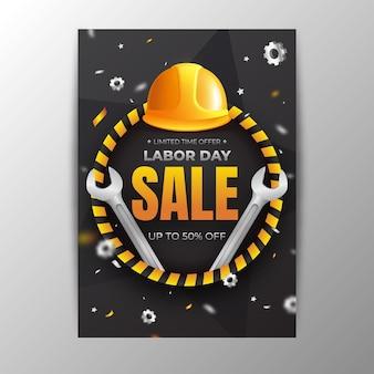 Plantilla de póster de venta vertical del día del trabajo de estados unidos realista