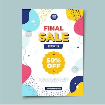 Plantilla de póster de ventas abstracto plano vector gratuito