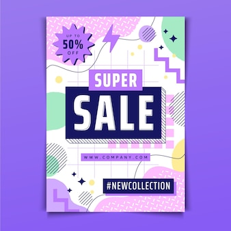 Plantilla de póster de ventas abstracto plano