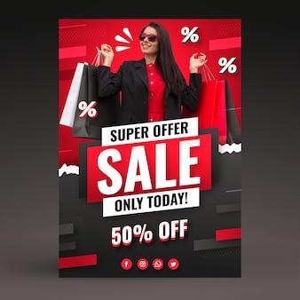 Plantilla de póster de ventas degradado con foto