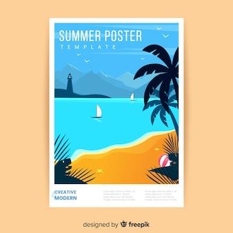 Plantilla de póster de verano dibujados a mano