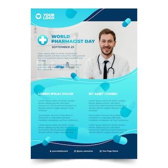 Plantilla de póster vertical del día del farmacéutico degradado