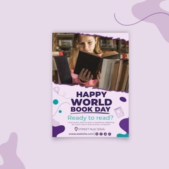 Plantilla de póster vertical del día mundial del libro