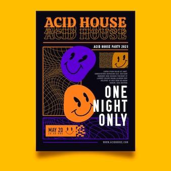 Plantilla de póster vertical de emoji plano ácido