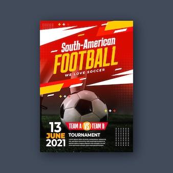 Plantilla de póster vertical de fútbol sudamericano realista vector gratuito
