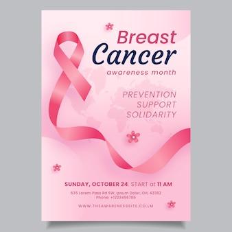 Plantilla de póster vertical del mes de concientización sobre el cáncer de mama degradado