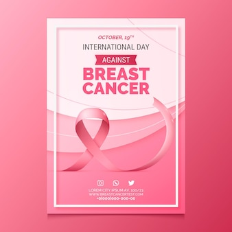 Plantilla de póster vertical realista del día internacional contra el cáncer de mama