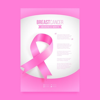 Plantilla de póster vertical realista del mes de concientización sobre el cáncer de mama