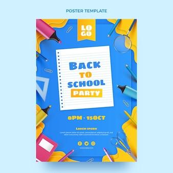 Plantilla de póster vertical realista de regreso a la escuela