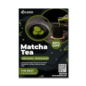 Plantilla de póster vertical de té matcha