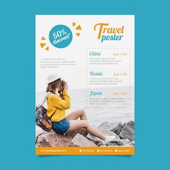 Plantilla de póster de viaje con foto
