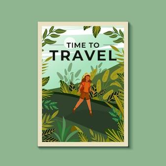 Plantilla de póster de viaje ilustrada