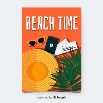 Plantilla de póster de viaje vintage en diseño plano