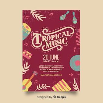 Plantilla de poster vintage de festival de música tropical