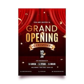 Plantilla de póster de volante de efecto de invitación de ceremonia de gran inauguración