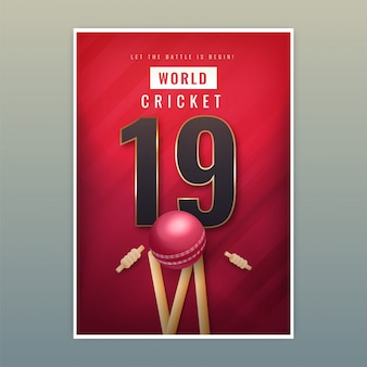 Plantilla de póster world cricket 19