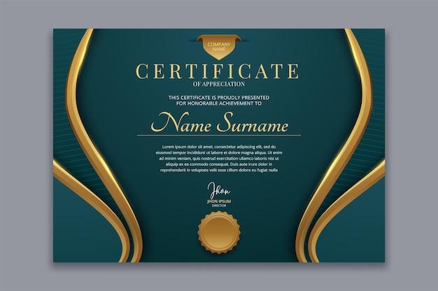 Plantilla de premio de certificado de reconocimiento creativo