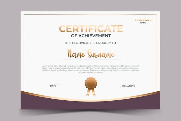 Plantilla de premio de certificado de reconocimiento de lujo con insignia dorada
