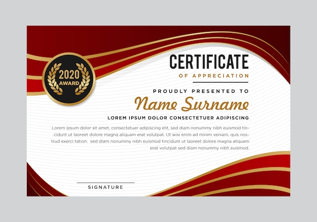 Plantilla de premio de reconocimiento de certificado abstracto de lujo creativo. diseño moderno. colores rojo y dorado