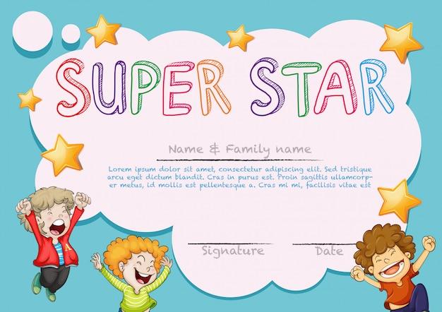 Plantilla de premio súper estrella con niños en segundo plano