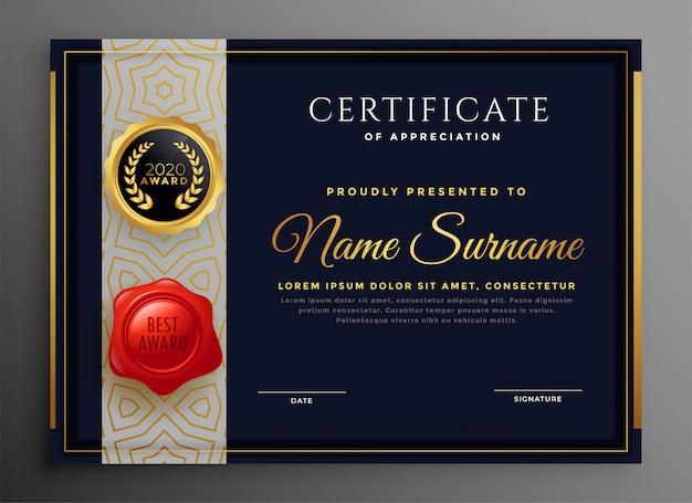 Plantilla premium de certificado negro y dorado