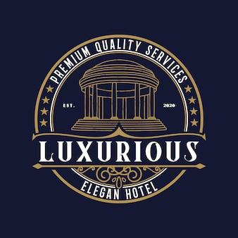 Plantilla premium de diseño vintage de logotipo de hotel de lujo