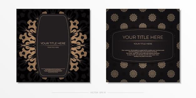 Plantilla presentable para impresión de postales de diseño en color negro con adorno árabe. preparando una tarjeta de invitación con patrones vintage.